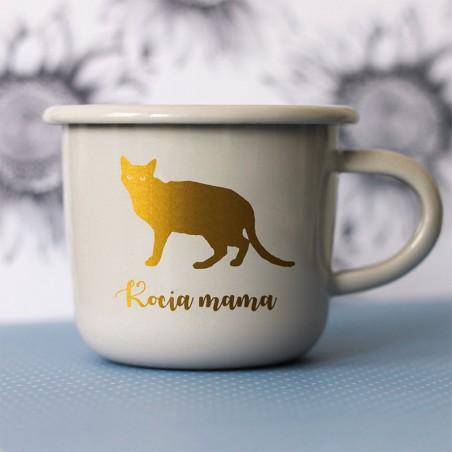 Kubek z podobizną kota i napisem Kocia Mama