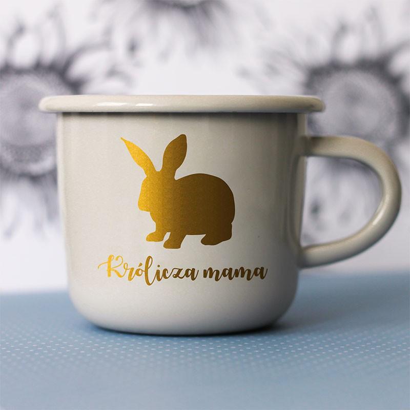 Kubek z podobizną królika i napisem Królicza Mama