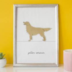 Plakat w stylu LINEART Golden Retriver na żółtym tle