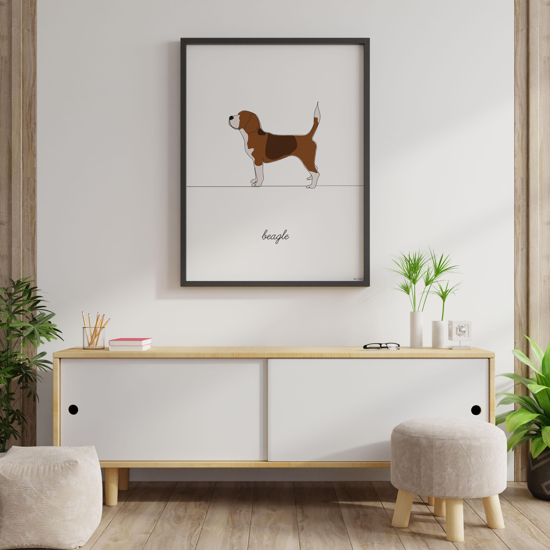 wizualizacja plakatu beagle w pokoju