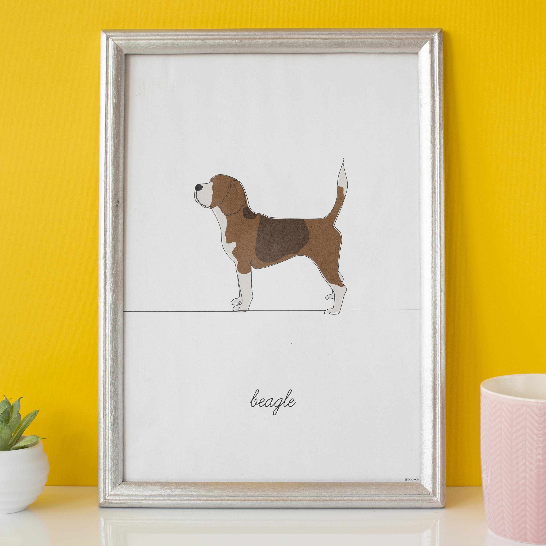 wizualizacja plakatu beagle na zółtym tle