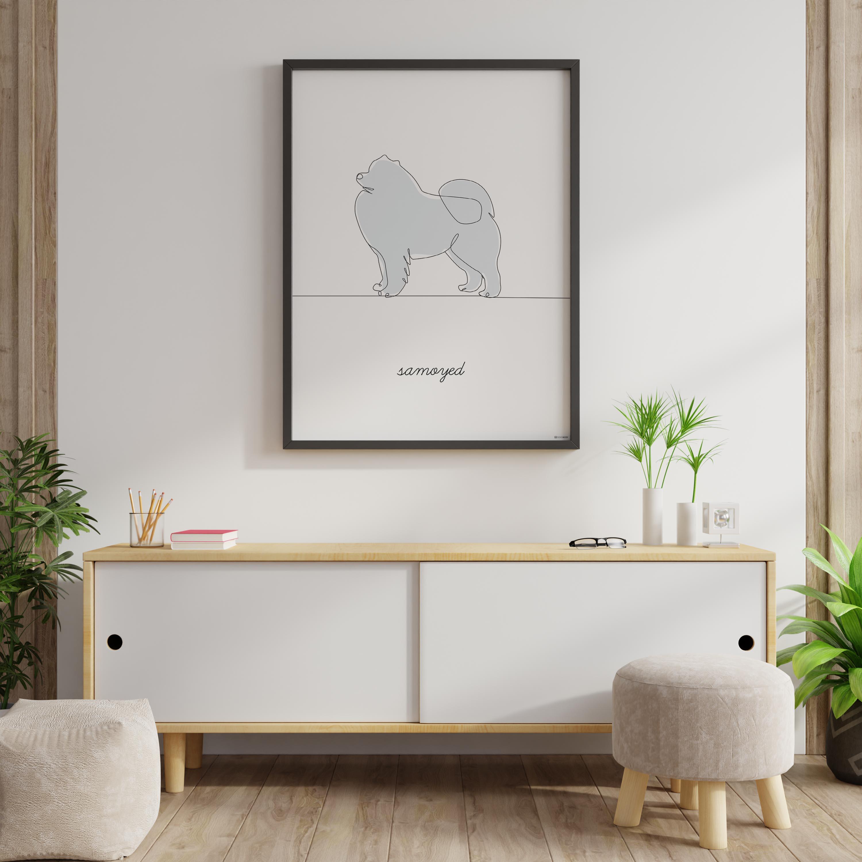 wizualizacja plakatu samoyed w pokoju