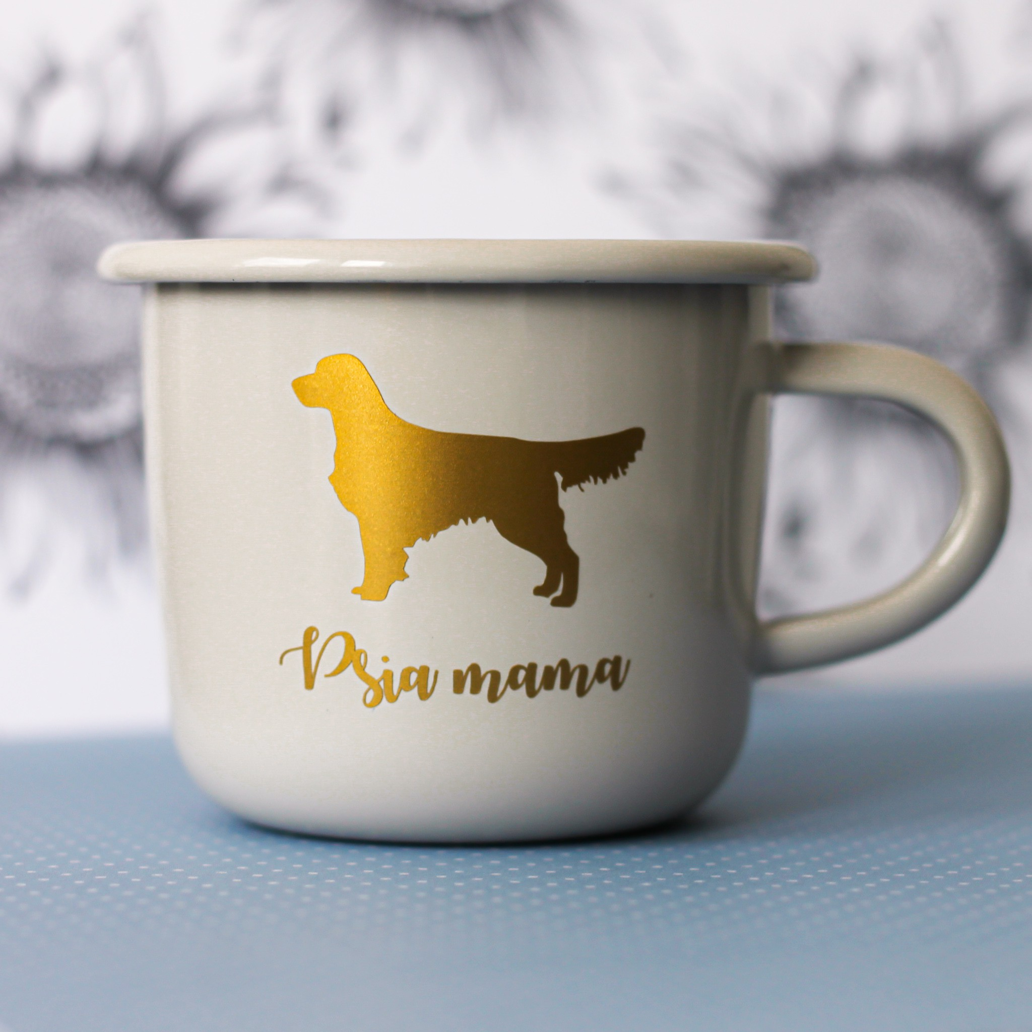 Kubek z podobizną psa Golden Retriever i napisem Psia Mama